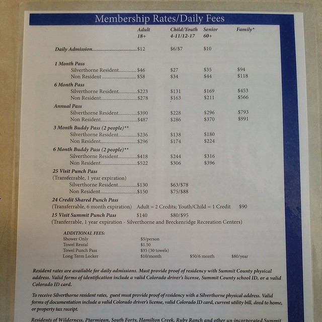 Silverthorne Recreation Center 2014 Pricing