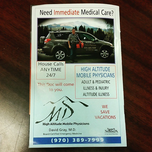 If you get to feeling bad when you visit Colorado this MD has an ad saying he makes a house calls. They call themselves High Altitude Mobile Physicians with phone number 970-389-7999. We have an article about how to overcome altitude sickness on our website www.SkiSilverthorne.com. HighAltitudeMobilePhysicians doctor physician Colorado Silverthorne Dillon vacation altitude HighAltitude AltitudeSickness