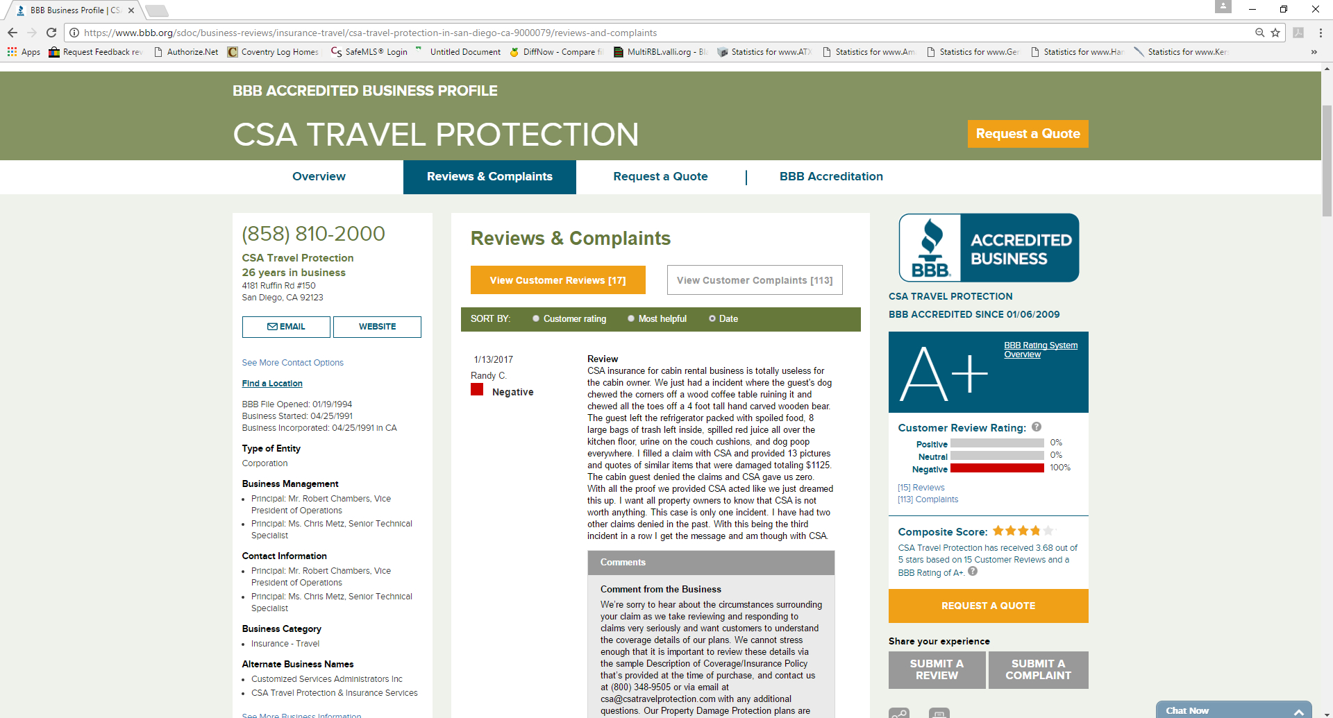 Csa Travel Protection Review Bbb