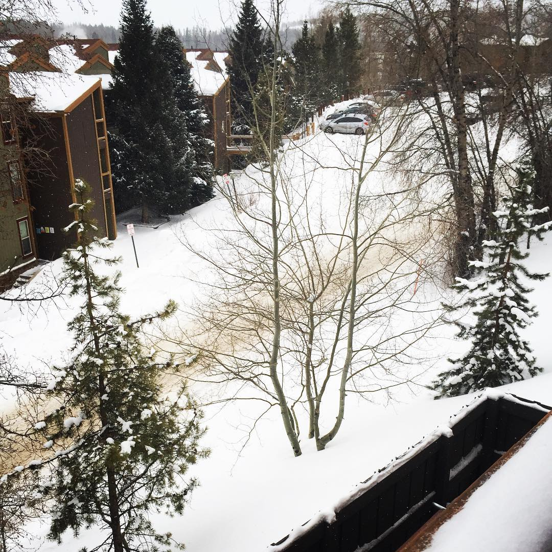 View from the back porch of the ski-Silverthorne lodge.  So peaceful to see the snow on the ground. #snowfall #peacefulplace #sereneplace #warmfires