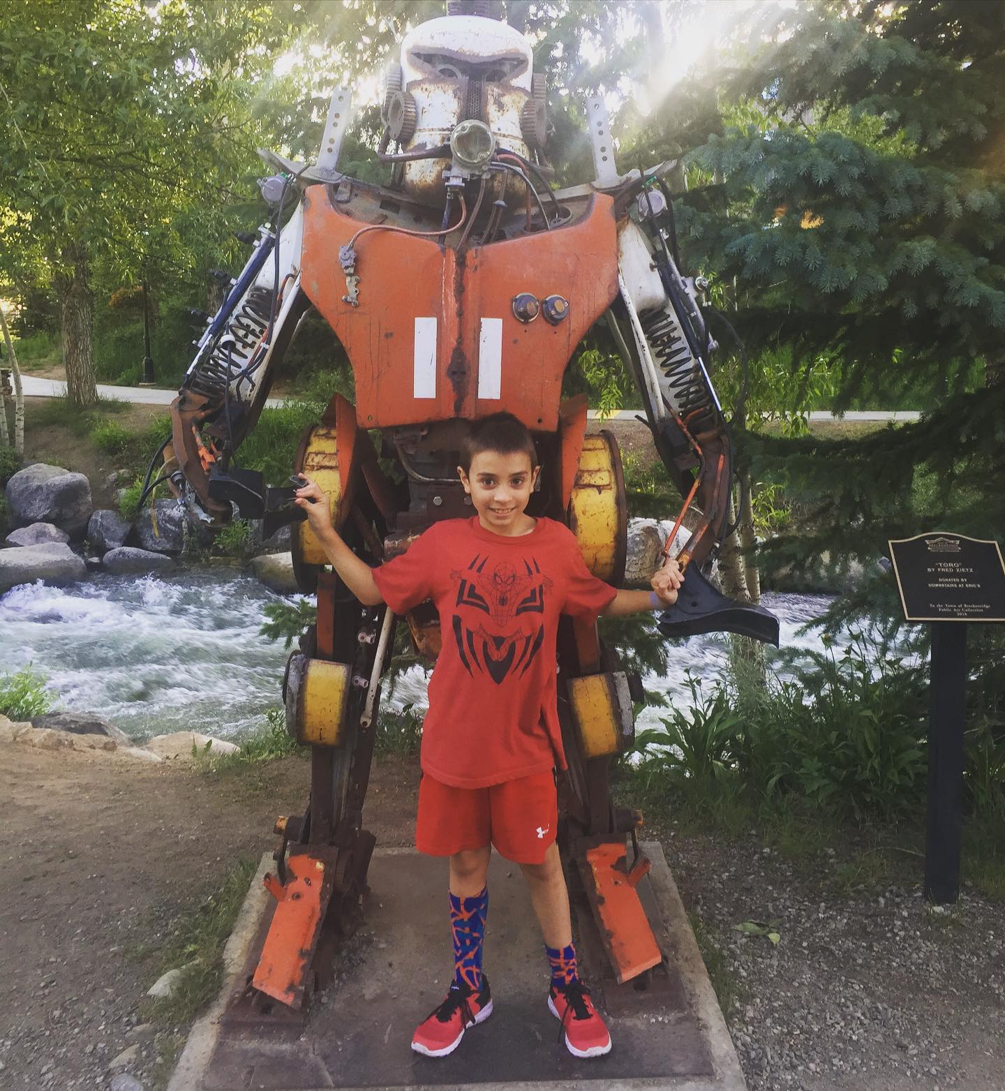"Take a walk down Breckenridge downtown area- go see the river roaring by and look for this robot named ""Toro"". We had a nice family outing- hope you can enjoy too! #toro #breckenridgemainstreet #familyouting #familyfun"