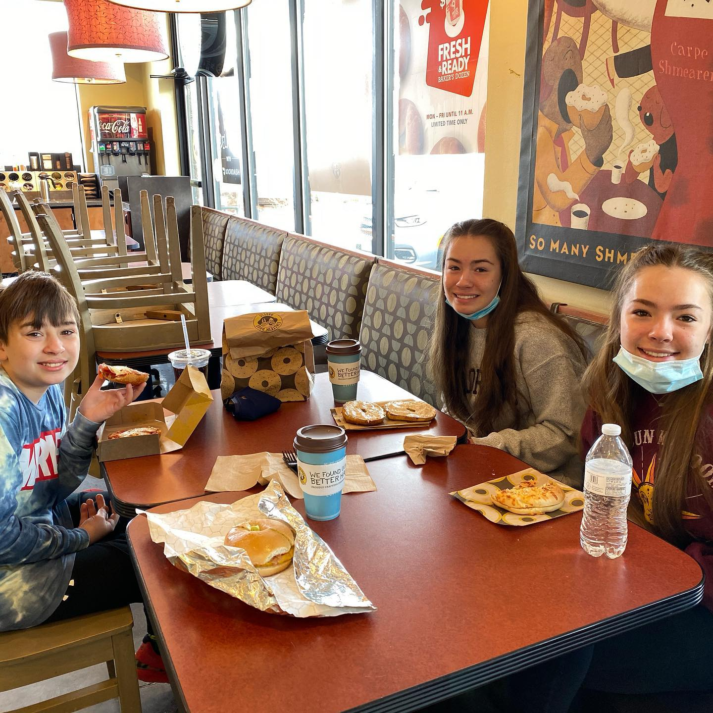 Starting off the morning right- bagels any way you can imagine at Einstein Bagels! They were delicious and coffee is good too.  Say Good Morning Sunshine! #goodmornings #goodbreakfasts #familymealtimes #bagelbites