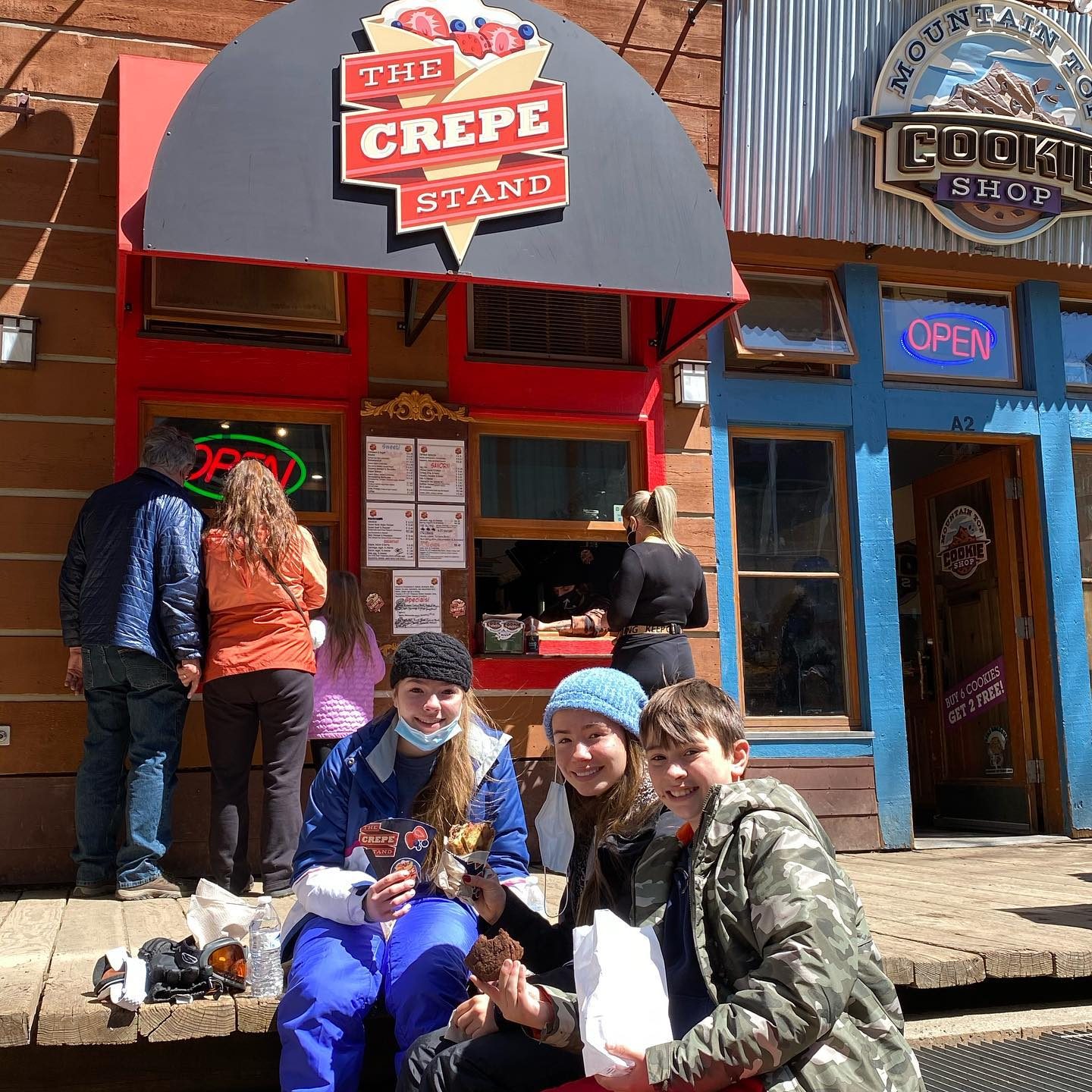 Eating crepes at the base of Keystone - these are the best!! We love them all- from a lunch to a sweet dessert- anything inside a crepe is awesome! #crepes #crepes@keystone #crepelunch