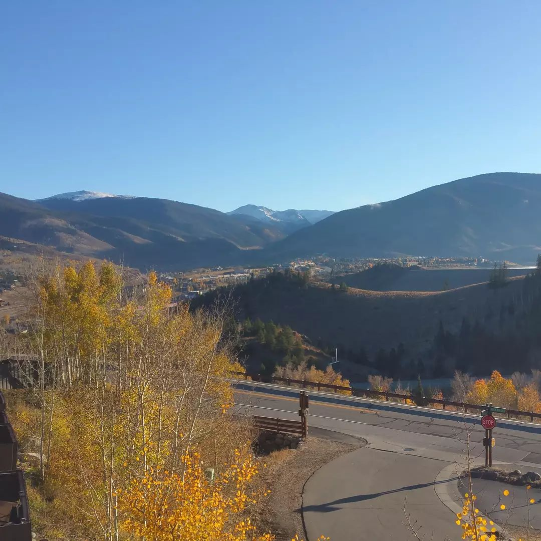 View from our balcony this morning.  The leaves are changing in the Aspen trees.  Fall is here.  Skisilverthorne.com   #silverthorne #skisilverthorne #colorado #aspen